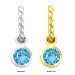 10k Gold Synthetic Blue Zircon Contemporary Round Earrings