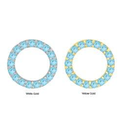 10k Gold Synthetic Aquamarine Circle Earrings