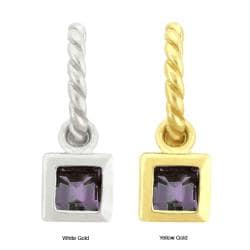 10k Gold Bezel-set Synthetic Alexandrite Contemporary Square Earrings