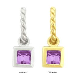 10k Gold Synthetic Amethyst Contemporary Square Dangle Earrings