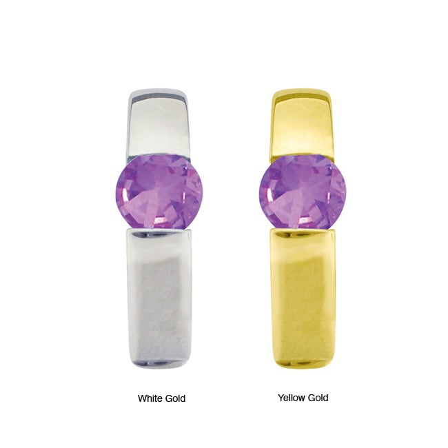 10k Gold Round-cut Synthetic Amethyst Contemporary Hoop Earrings