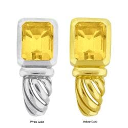10k Gold Synthetic Golden Topaz Filigree Earrings