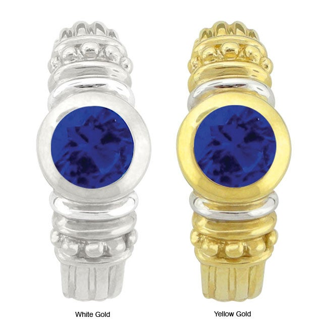 10k Gold Round-cut Synthetic Sapphire Contemporary Hoop Earrings
