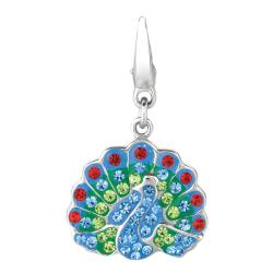 Sterling Silver Blue, Green and Red Crystal Peacock Charm