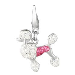 Sterling Silver Pink and Clear Crystal Poodle Charm