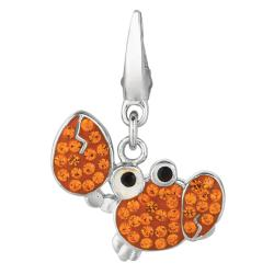 Sterling Silver Orange and Black Crystal Crab Charm