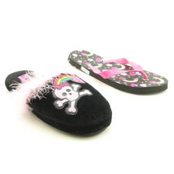 Lil' Cookie Girl's Slipper and Flip-Flop Black Shoes (Size 11)