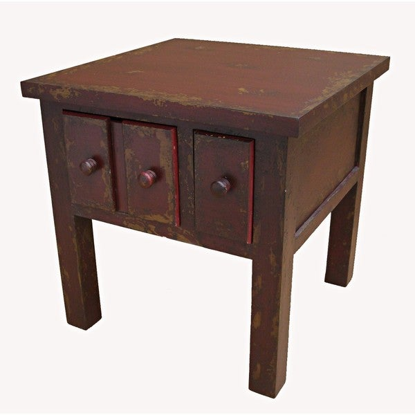 Shabby Chic Red Side Table