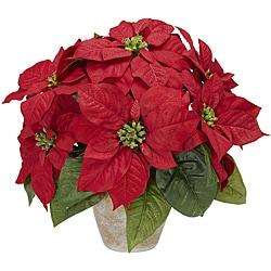 Poinsettia w/Ceramic Vase Silk Flower Arrangement