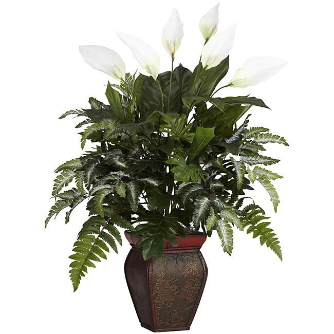 Mixed Greens and Spathyfillum & Decorative Vase Silk Plant