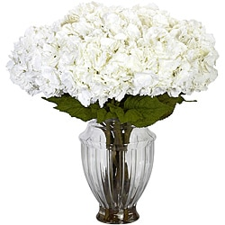 Large White Hydrangea w/European Vase