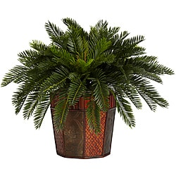 Cycas with Octagon Vase Silk Plant
