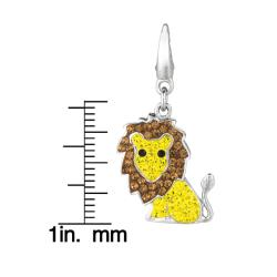 Sterling Silver Yellow, Brown and Black Crystal Lion Charm