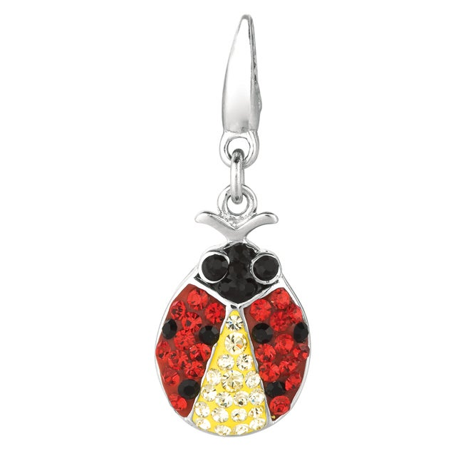 Sterling Silver Black, Red and Clear Crystal Ladybug Charm