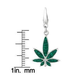 Sterling Silver Green Crystal Marijuana Leaf Charm