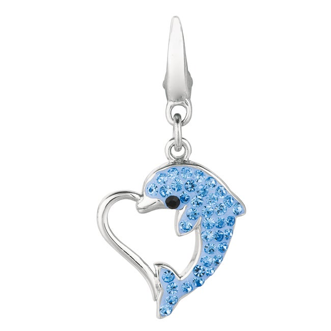 Sterling Silver Blue and Black Crystal Dolphin Heart Charm