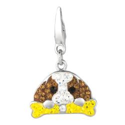 Sterling Silver Brown, Clear, Yellow and Black Crystal Dog and Bone Charm