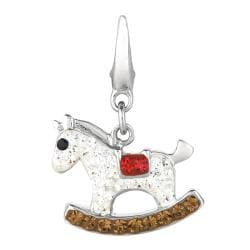 Sterling Silver Clear, Brown and Red Crystal Rocking Horse Charm