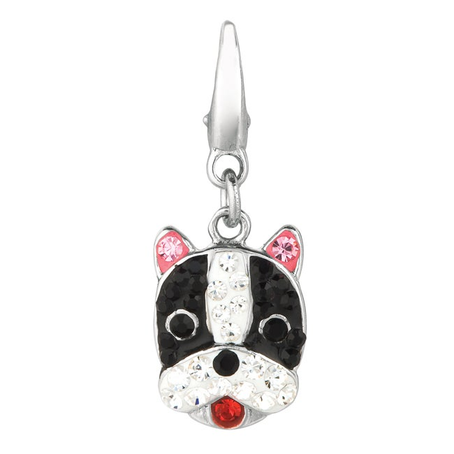Sterling Silver Black, White, Pink and Red Crystal Boxer Charm