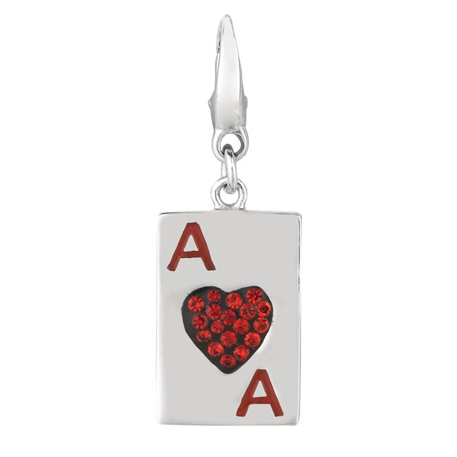 Sterling Silver Crystal Ace of Hearts Charm