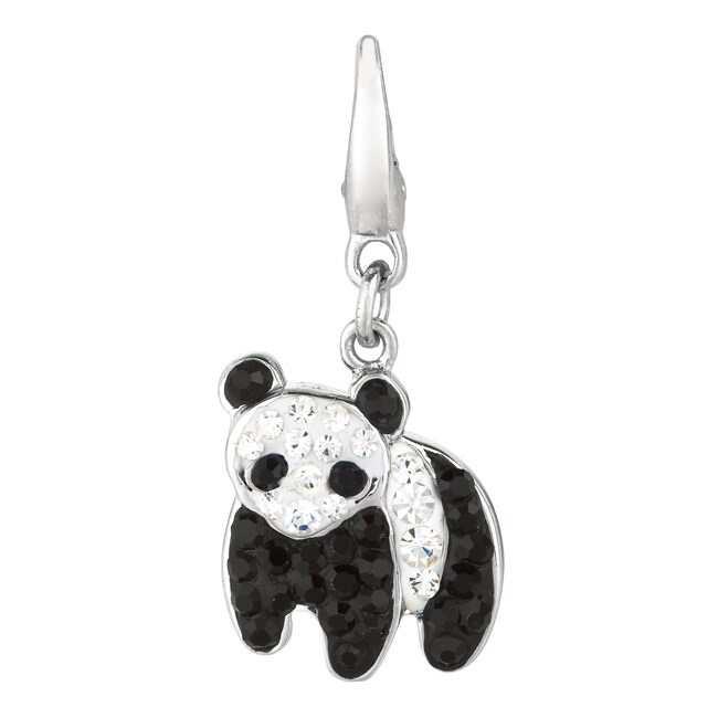 Sterling Silver Black and Clear Crystal Panda Charm