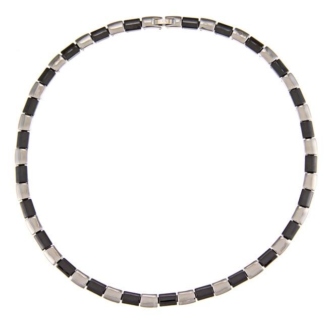 La Preciosa Stainless Steel Black Ceramic Link Necklace