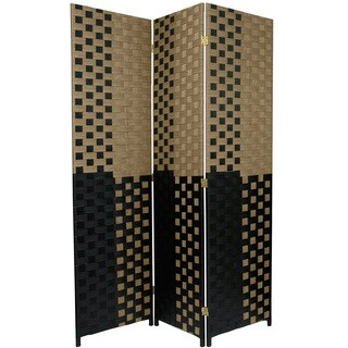 6 ft. Tall Woven Fiber Room Divider - Olive/Black (China)