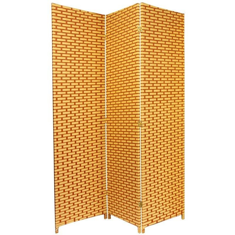 6 ft. Tall Woven Fiber Room Divider - Natural/Rust (China)