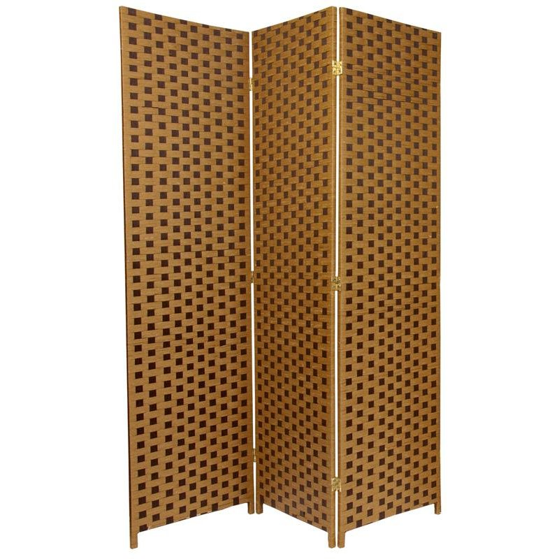 6 ft. Tall Woven Fiber Room Divider - Two Tone Brown (China)