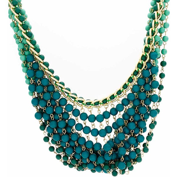 Nexte Jewelry Shades of Green Beaded Bib Necklace