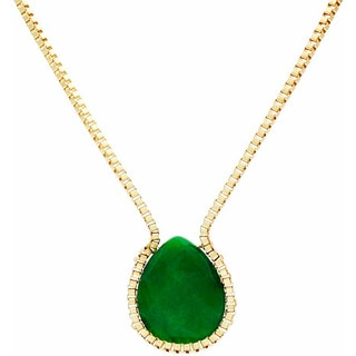 NEXTE Jewelry Genuine Jade Faceted Teardrop Necklace