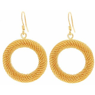 NEXTE Jewelry Goldtone Mesh Circle Dangle Earrings