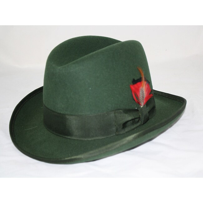 Ferrecci Men's Green Wool Godfather Hat