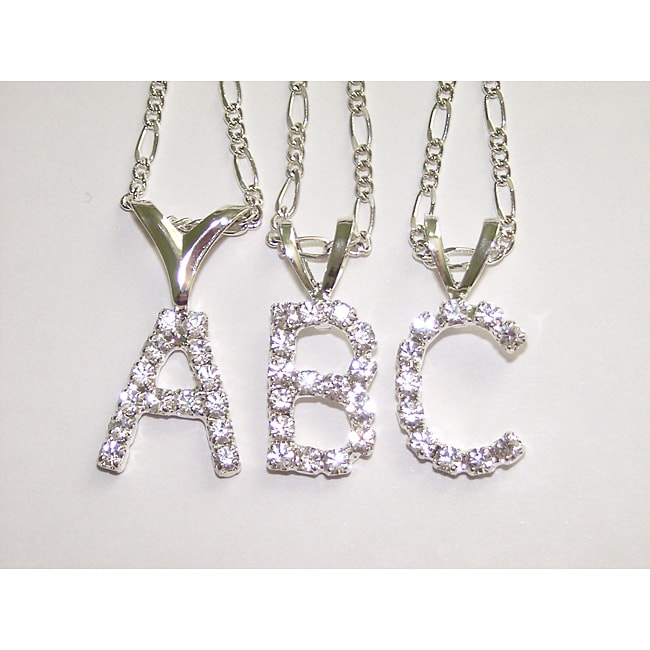 Detti Originals Silvertone Crystal Initial Necklace