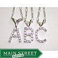 Silvertone Crystal Initial Necklace