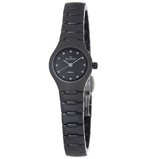 Skagen Women's Black Swarovski-Stone Indices Ceramic Crystal Watch