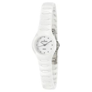 Skagen Women's White Ceramic Crystal Watch