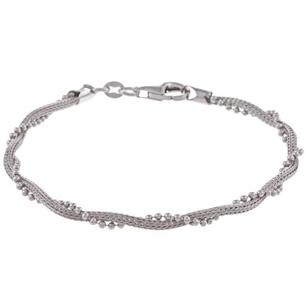 La Preciosa Sterling Silver Winding Bead Bracelet