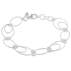 La Preciosa Sterling Silver Oval and Circle Link Bracelet