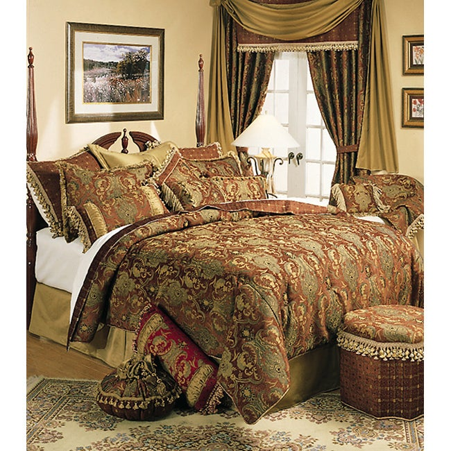 sherry kline china art brown cal king size 6 piece comforter set