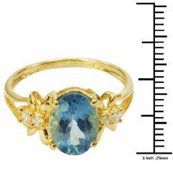 De Buman Sterling Silver London-blue Topaz and Cubic Zirconia Ring