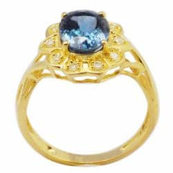 De Buman Sterling Silver London Blue Topaz and Cubic Zirconia Ring