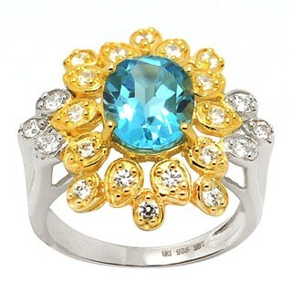 De Buman 18K Gold and Silver Blue Topaz and Cubic Zirconia Floral Ring