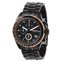 Fossil Men's 'Decker' Black Steel Chronograph Watch