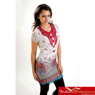 White Crepe Crushed Kurti Tunic with Golden Neckline (India)