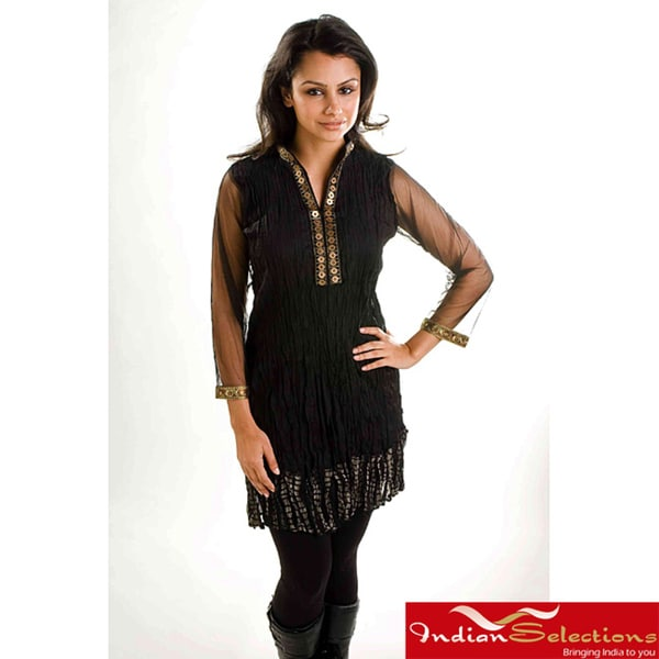 Black Crepe Crushed Kurti Tunic with Golden Neckline (India)