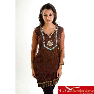 Browncrepe Crushed Kurti Tunic with Golden Neckline (India)