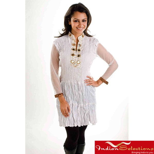 Off-White Crepe Crushed Kurti Tunic with Golden Neckline (India)