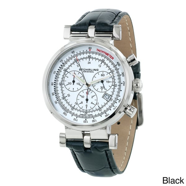 Stuhrling Original Men's Trackmaster Quartz Chronograph Watch with White Dial