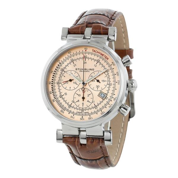 Stuhrling Original Men's Trackmaster Quartz Chronograph Watch with White Dial